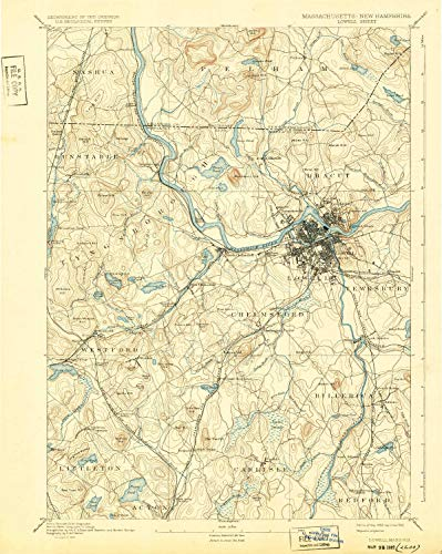 Massachusetts Clay - Lowell MA topo map, 1:62500 Scale, 15 X 15 Minute, Historical, 1893, Updated 1932, 19.7 x 15.7 in - Tyvek