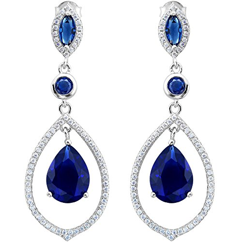 EVER FAITH 925 Sterling Silver CZ September Birthstone Tear Drop Chandelier Earrings Sapphire Color