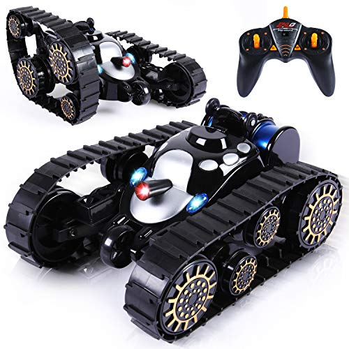 Toch RC Tank Toy, Remote Control Battle Tank with 360 Flip Lights Music Anti-Shock Continuous Track