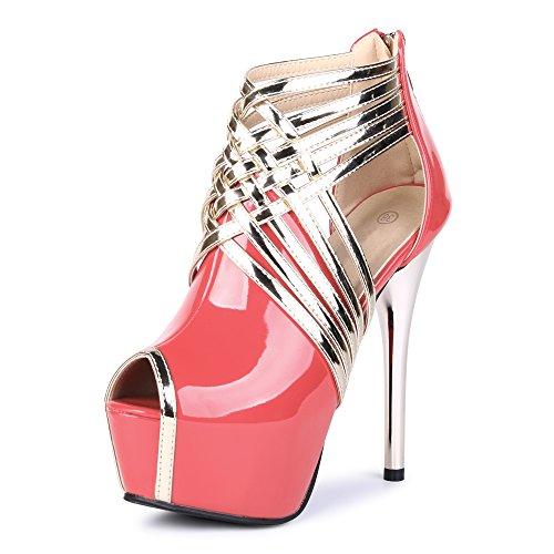 plataforma rosa sandalias Toe Peep tiras rojo OCHENTA botines con PU estilete xnzEYFqF5f