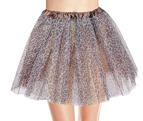 [Women's, Teen, Adult Classic Elastic 3, 4, 5 Layered Tulle Tutu Skirt (One Size, Brown Leopard 3Layer)] (Leopard Costumes Adult)