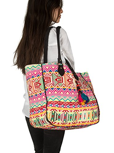 Hippie Handmade Shoulder Tote Bag Boho Red Patchwork Embroidered Pom Pom