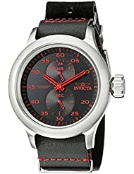 Invicta Mens 19495 Russian Diver Stainless Steel Red-Accented Watch With Black Leather Band