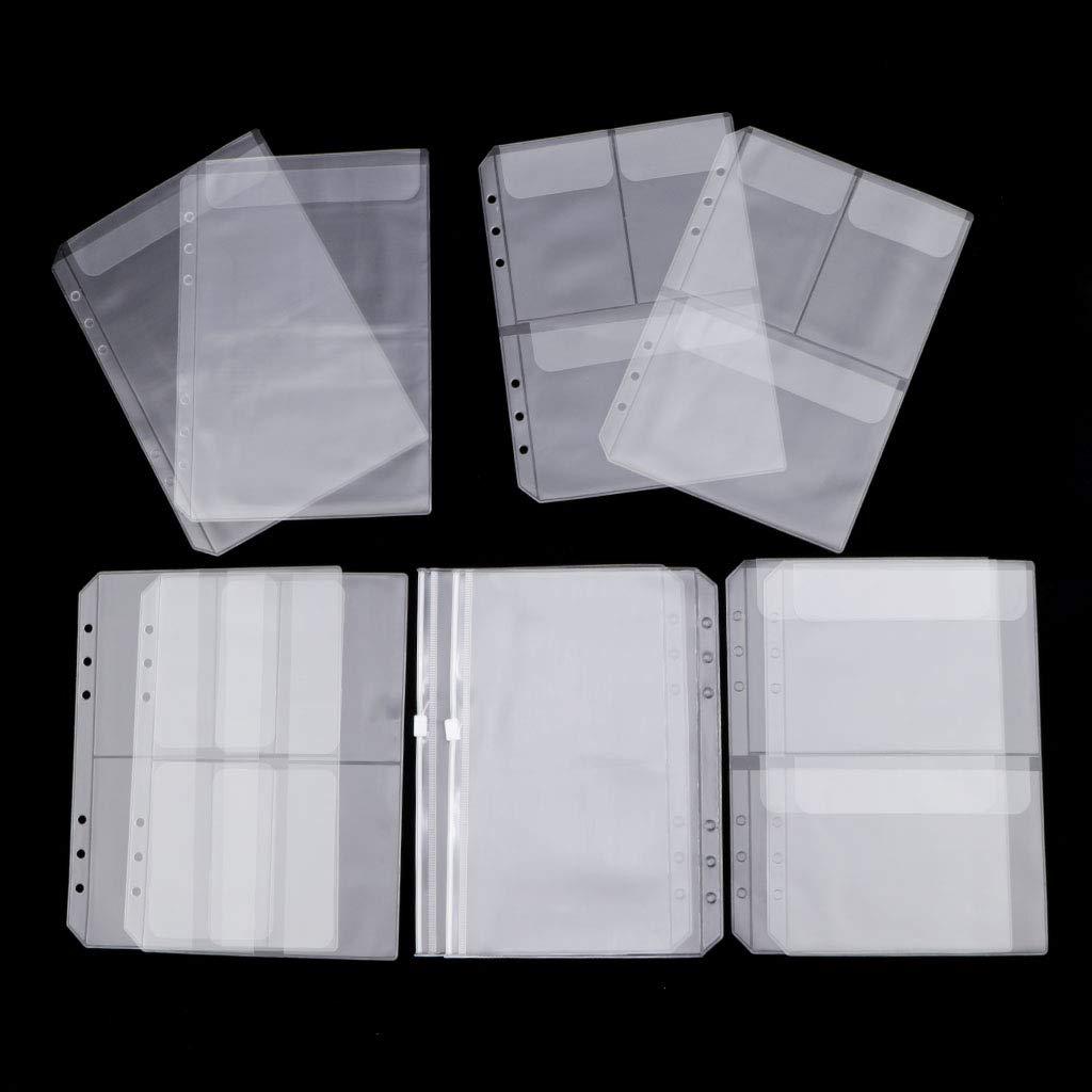 10Pcs A5 Bolsillos Transparentes De Carpeta De PVC Aptos Para 6 Anillos Bolso De Colecci/ón De Tarjetas De Documentos Para Port/átiles