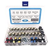 Seloky 20 PCS (Five Resistance Values) 5K-100K Ohm Knurled Shaft Linear Rotary Taper Potentiometer with Five Kinds Knob(WH148) Kit