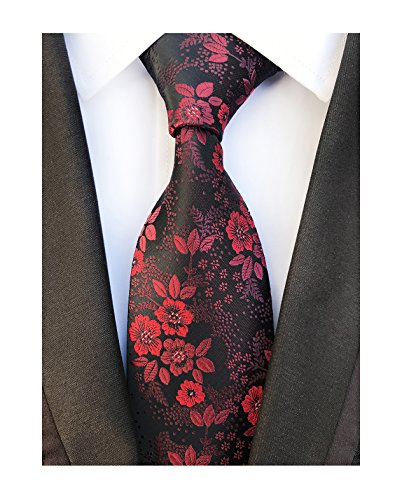Floral Pattern Necktie - Men's Burgundy Red Black Jacquard Woven Silk Clip on Tie Business Formal Necktie