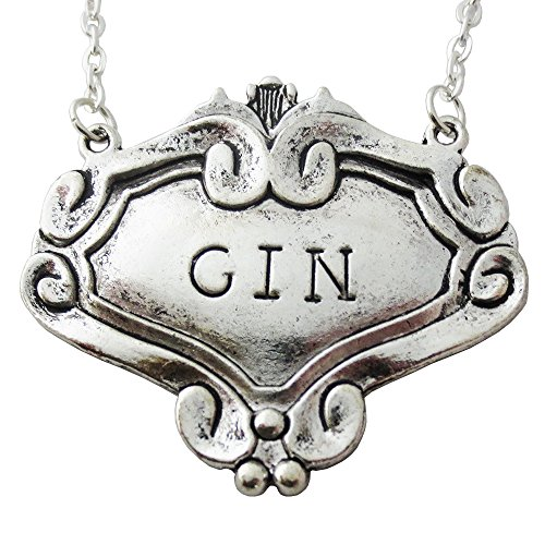Review Sparkle Gin Label Necklace in Antiqued Silver