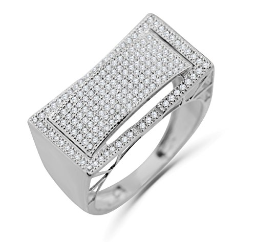 10K White Gold Mens Ring Diamond Band Pinky or Fashion Ring Wide 12mm 1/2ctw Diamond by Midwest Jewellery