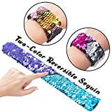 Pawliss 12 Pack Little Mermaid Magic Reversible Sequin Slap Bracelets, Birthday Party Favors Supplies Gifts for Girls Kids, Pink Blue Purple
