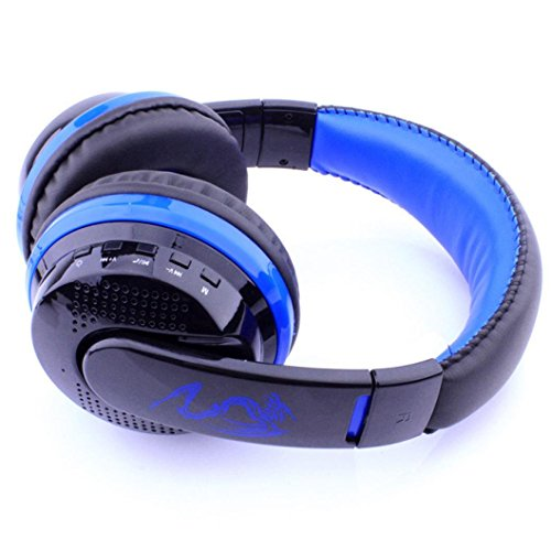 Creazy Wireless Bluetooth Stereo Headset Earphone Headphone with Micro SD Card FM (Blue)
