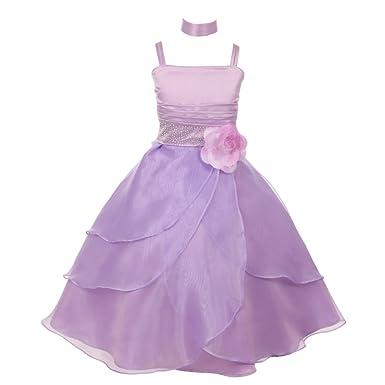 b74b1a23ed6 Big Girls Lilac Floral Accent Cascade Overlaid Junior Bridesmaid Dress 8