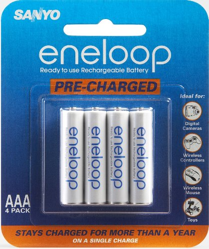 Sanyo Eneloop AAA NiMH Pre-Charged Rechargeable Batteries 4 Pack (Discontinued by Manufacturer) (Sanyo Eneloop Nimh Rechargeable)
