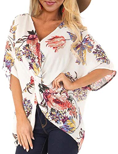 ELF QUEEN Womens Casual Short Sleeve V Neck Ruched Twist Floral Tunic Tops for Women Shirts Tops and Blouse White Medium
