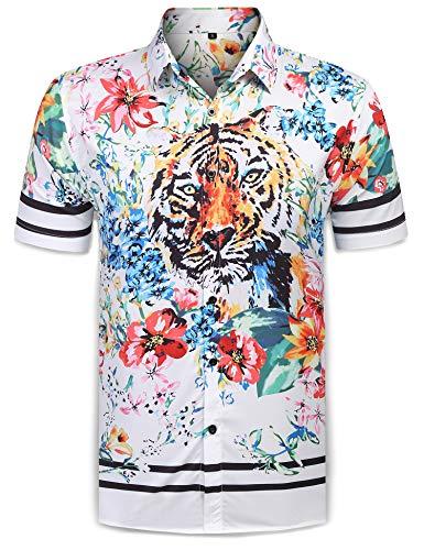 (URRU Men's Casual Tiger Floral Printed Hawaiian Shirts Short Sleeve Button Down Aloha Summer Tops White XXL)