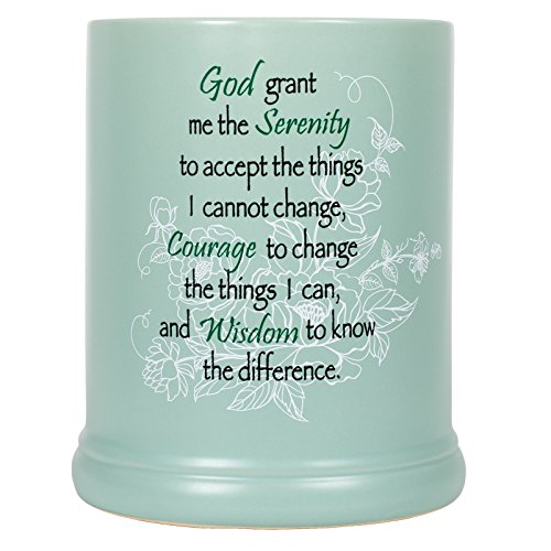 Serenity Prayer Teal White Floral Design Stoneware Electric Large Jar Candle Warmer ()