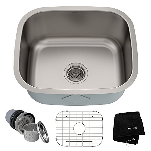 Kraus KBU11 20 inch Undermount Single Bowl 16 gauge Stainless Steel Kitchen Sink