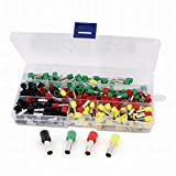 Uptell 240Pcs 10 AWG Mix Color Pre-Insulation Ferrules Wiring Terminals w Box