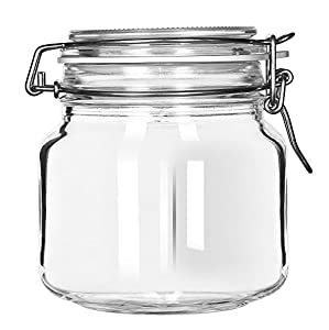libbey glass jar with clamp lid set of 6 - Glass Containers With Lids