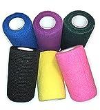 WildCow Vet Wrap Bulk 4'', Vet Tape Wrap Bandages Assorted Colors (Pack of 6)