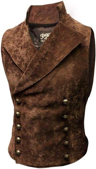 Steampunk Vest Men/'s Black /& Tan Brocade /& Velvet Double Breasted Full Back Vest