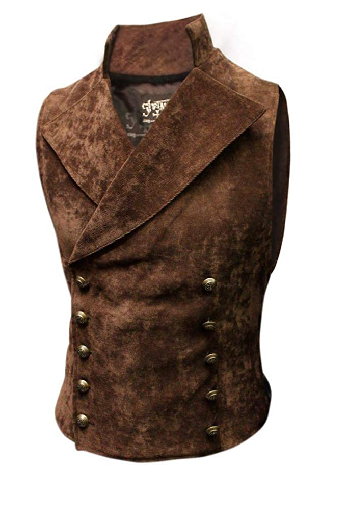 Men's Steampunk Vests, Waistcoats, Corsets Shrine Mens Victorian Gothic Formal Cavalier Vest Steampunk Brown Velvet $165.00 AT vintagedancer.com