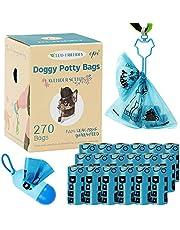 LiRiQi Hondenpoepzakjes, poepzakjes voor honden, 18 rollen (270 zakken), 1 dispenser, 1 hondenpoep-zakhouder, hondenpoo bag, lekvrije poepzak voor honden, extra dik en scheurvast, blauw