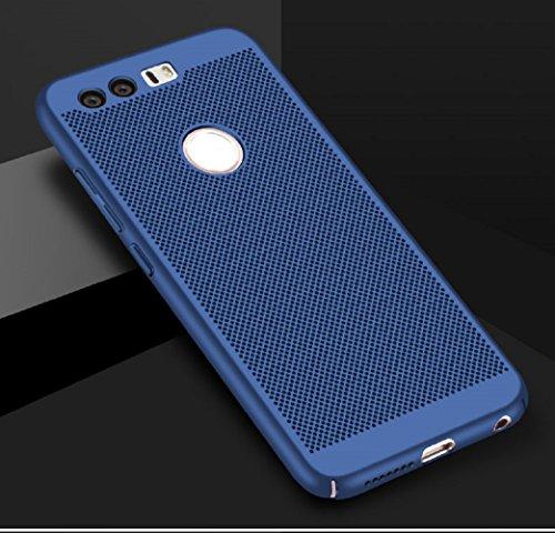 Funda Huawei Honor8,Alta Calidad Ultra Slim Anti-Rasguño y Resistente Huellas Dactilares Totalmente Protectora Caso de Plástico Duro Case,Cuadrícula Disipación de calor Antideslizante Cover(YQ2-3) B