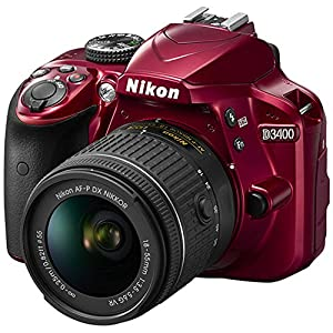 Nikon D3400 24.2 MP DSLR Camera + AF-P DX 18-55mm VR NIKKOR Lens Kit + Accessory Bundle 64GB SDXC Memory + SLR Photo Bag + Wide Angle Lens + 2X Telephoto Lens + Flash + Remote + Tripod+Filters by Nikon