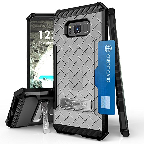 Galaxy S8 Plus Case Trishield Durable Shockproof High Impact Rugged Full Protection Armor Phone Cover With Detachable Lanyard Loop Built In Kickstand And Card Slot White Diamond Plate Steel