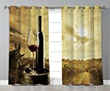Stylish Window Curtains,Wine,Red Wine Bottle and Glass on Wooden Barrel Dramatic Sky Agriculture Decorative,Light Coffee Green Black,2 Panel Set Window Drapes,for Living Room Bedroom Kitchen Cafe