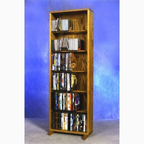 Wood Shed Solid Oak 6 Row Dowel CD/DVD Cabinet Tower Honey Oak