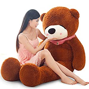 cheap stuffed animals big dark brown teddy bear toy for girlfriend gifts 55inch. Black Bedroom Furniture Sets. Home Design Ideas