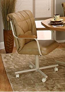Casual Rolling Caster Dining Chair With Wood Arms And Polyurethane Seat And  Back (Set Of