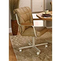 Casual Rolling Caster Dining Arm Chair with Swivel Tilt (Set of 2) (Buff)