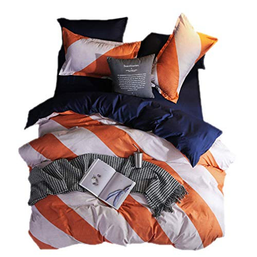 (Beddingwish 3Pcs Orange and White Geometric Stripe Pattern Duvet Cover (No Comforter),Breathable,Reversible,Polyester Bedding Set Full/Queen for Girls and Kids -Orange,White,Navy Blue)