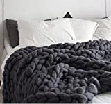 Chunky Knit Blanket Handmade by eacho Soft Knitting Throw Bed Bedroom Decor Bulky Sofa Pet Mat, Dark Grey, 47''71''