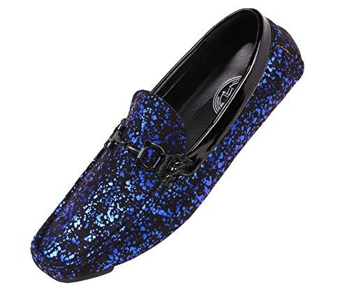 Amali Mens Metallic Splatter Black Microfiber Nightclub Driver, Slip On Loafer Driving Shoe with Ornament by Amali