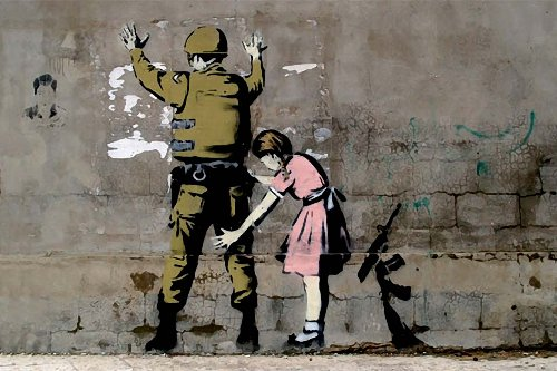 Set Of 3 Banksy Posters - Dorothy Stop and Search, Girl Searching Army Soldier, Pulp Fiction Bananas - SMALL LAMINATED/ENCAPSULATED POSTER