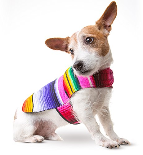 Baja Ponchos Dog Clothes - Handmade Dog Poncho from Authentic Mexican Blanket (Pink No Fringe, - Sweater Misses Acrylic