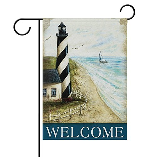 - ShineSnow Welcome Vintage Lighthouse On Beach Small Mini Double Sided Garden Yard Flag 12