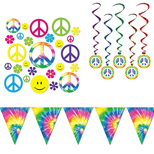 Retro 60's Peace Tie Dye Decorations Cutouts Dangling Whirls Banner 48 Piece Bundle ()