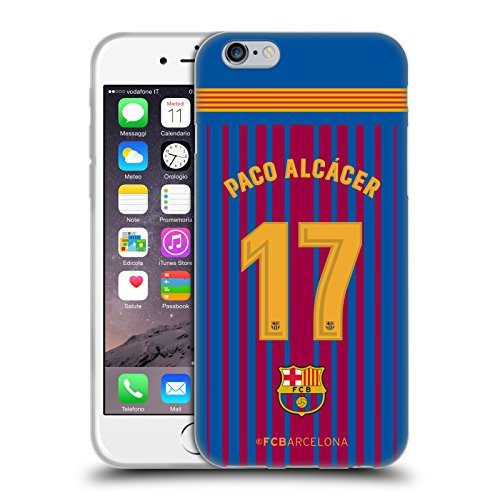 Official FC Barcelona Paco Alcácer 2017/18 Players Home Kit Group 1 Soft Gel Case for iPhone 6 / iPhone 6s