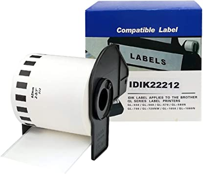 62 mm x 15.2 m Compatible,1 Rolls 2.4 in x 50 ft Brother DK2212 Continuous Length Film Label Roll