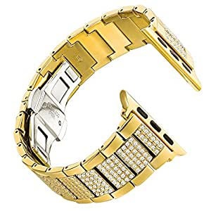 Leefrei Copper Alloy Watch Band Metal Replacement Strap with Rhinestone for Apple Watch Series 3 Series 2 and Series 1 38mm - Gold