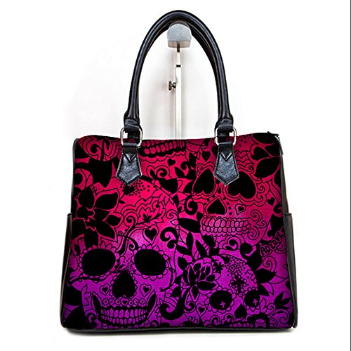 (Female PU Leather Barrel Type Handbags Top Handle Bags Purse with Day Of The Dead Sugar Skull Print.)