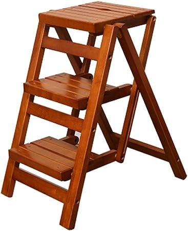 Escaleras multifunción Escalera De Mano Home Plegable Pequeña Escala De Madera Madera Sólida Pequeñas Escaleras Cocina Pequeña Escalera Heces Carga del Cojinete sobre 110kg: Amazon.es: Hogar