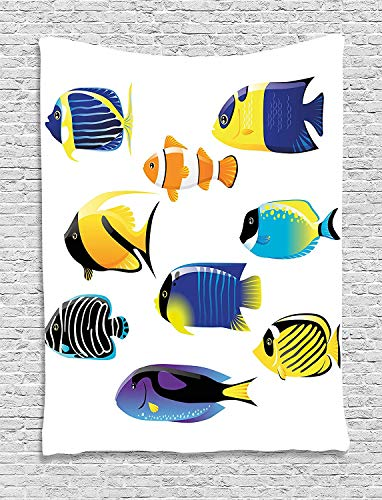 THndjsh Ocean Animal Decor Tapestry, Types of Sea Creature with Atlantic Cod Bonito Palette Surgeonfish Image, Wall Hanging for Bedroom Living Room Dorm, 60 W x 80 L Inches, Multi by THndjsh