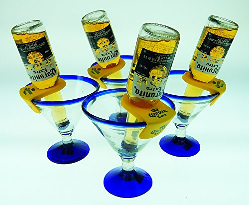 Mexican Glass Margarita Blue Rim 15 Oz with Coronarita Clips Corona Beer Holders (Set of 4 ) by Mexican Margarita Glasses