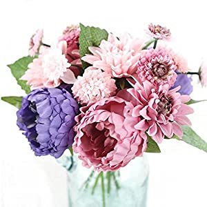 Celine lin 1 Bunch 8 Pcs Artificial Peony Dahlia Daisy Flower Bouquet Bride Bridesmaid Holding Flowers For Home Hotel Office Wedding Party Garden Craft Art D¨¦cor 5