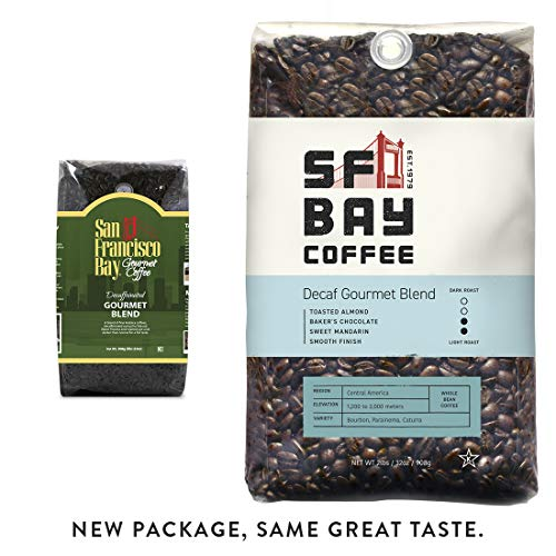 SF Bay Coffee DECAF Gourmet Blend Whole Bean 2LB (32 Ounce) Medium Roast Natural Water Processed  (Packaging May Vary) (San Francisco Whole Bean Coffee)